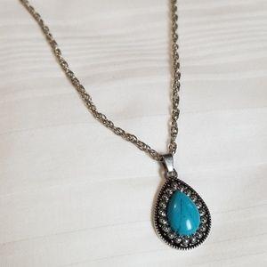 Silver Tone Blue Rain Drop Necklace